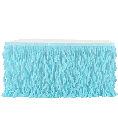 Leegleri Tulle Curly Willow Table Skirt Ruffle Tutu Table Skirt for Rectangle Table or Round Table,Mermaid Table Skirt for Baby Shower,Birthday Party (Aqua,L 9(ft) H 30in)