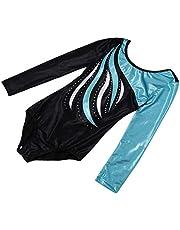 Lovoski Kid Girls Unitards Leotard Long Sleeve Gymnastics Dancewear Costume Purple