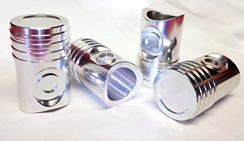 Automotive Piston SHOT GLASSES - 4-PAK / SET of 4 - Billet Aluminum like Real - Cup Billet Mustang Holder