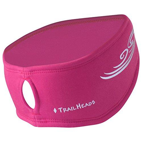 TrailHeads Women's Ponytail Headband | Moisture Wicking Ear Band | The Power Running Headband - berry/reflective silver