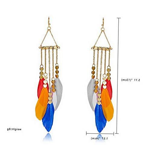 Waldenn Fashion Elegant Feather Tassel Drop Dangle Earrings Women Charm Jewelry Gift Hot | Model ERRNGS - 12568 -