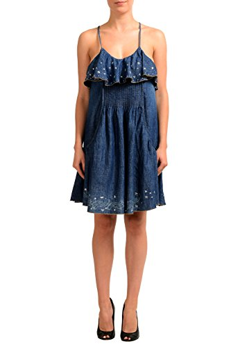 Just Cavalli Linen Blue Denim Embellished Women's Sheath Dress US S IT 40 Cavalli Linen
