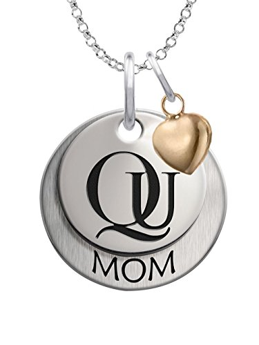 Quinnipiac University Bobcats Sterling Silver Stacked MOM Charm Necklace with Heart Accent (Quinnipiac University)