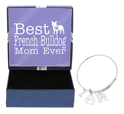 Bulldog Bracelets (Mother's Day Gifts Best French Bulldog Mom Ever Bracelet Gift Love Dog Breed Silhouette Adjustable Bangle Charm Silver-Tone Bracelet Gift for French Bulldog Owner Jewelry Box)
