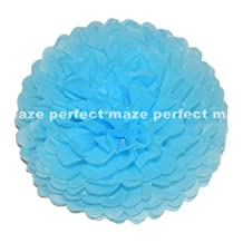 "Perfectmaze Tissue Paper Pom Poms 6"" (Inch) Set of 8_Turquoise"