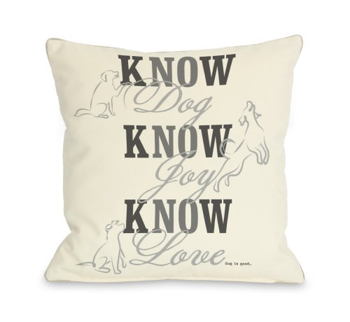 One Bella Casa Know Dog Throw Pillow, 16 by 16-Inch, Cream