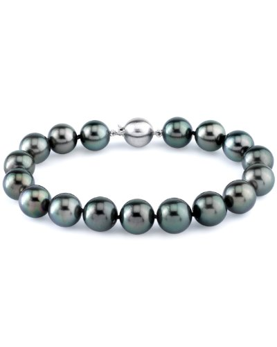 THE PEARL SOURCE 14K Gold 9-10mm Round Genuine Black Tahitian South Sea Cultured Pearl Bracelet for Women