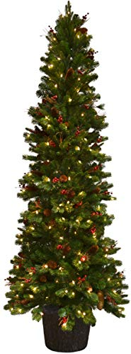 Fraser Hill Farm 4.5-Ft. Northwood Potted Christmas Tree Décor with LED Lights, Green (Berry Christmas Tree Farm)