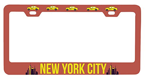 R and R Imports New York City New York NYC Statue of Liberty Brooklyn Manhattan Souvenir Metal License Plate Frame
