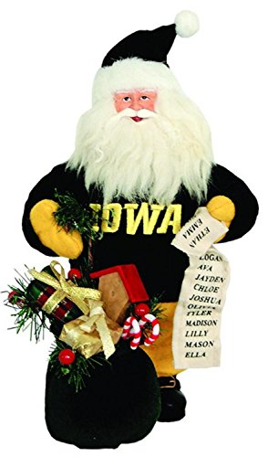 10  Ncaa Iowa Hawkeyes Gift Bearing Santa Claus Christmas Table Top Figure