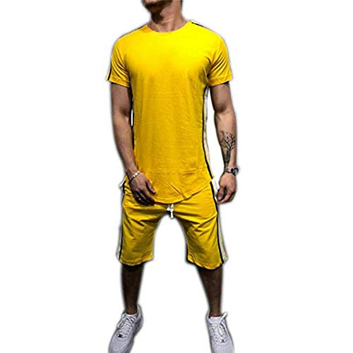 Men Stripes Shorts Set Two-Piece Tracksuit Outfits Short Sleeve T-Shirt and Shorts Casual Sports Wear (M, Yellow) ()