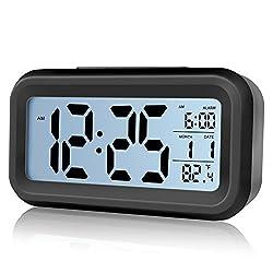 TRADE Alarm Clock, Large Display Screen Time Week Temperature Display Nightlight and Snooze Function Smart Light Sensor Simple Operation Digital Alarm Clock (Black)