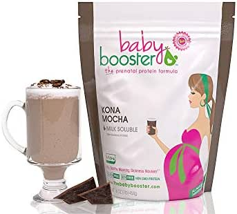 Prenatal Vitamin Supplement Shake - Baby Booster Kona Mocha - 1lb bag - OBGYN Approved - All Natural - Tastes Great - Vegetarian DHA - High Protein - Folic Acid - B6 - Great for Morning Sickness