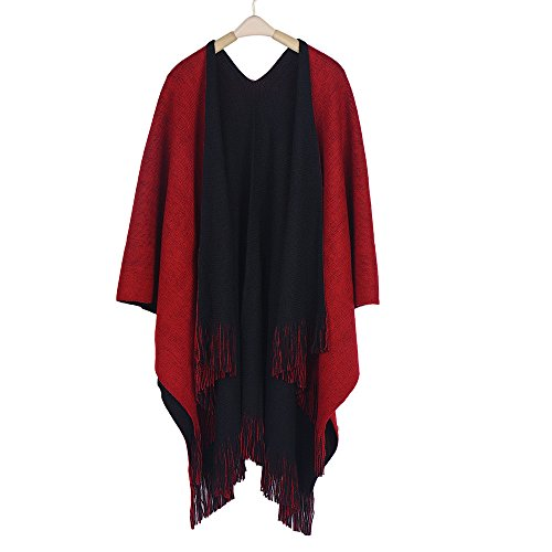 Winter Knitted Cashmere Poncho Capes Shawl Cardigans Sweater Coat Women Black