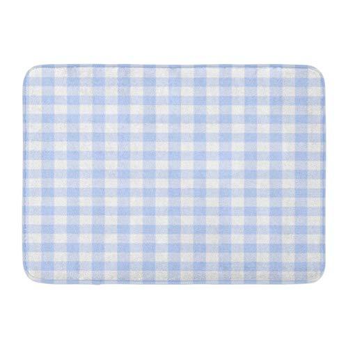 Emvency Doormats Bath Rugs Outdoor/Indoor Door Mat Pattern Light Blue Gingham Plaid Check Tartan White Checkered Pale Bathroom Decor Rug 16