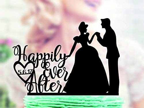 Wini2342ckey Happily Ever After Silhouette Prince Charming and Cinderella, Wedding Cake Topper, Wedding Silhouette, Silhouette Mr and Mrs Cake Topper