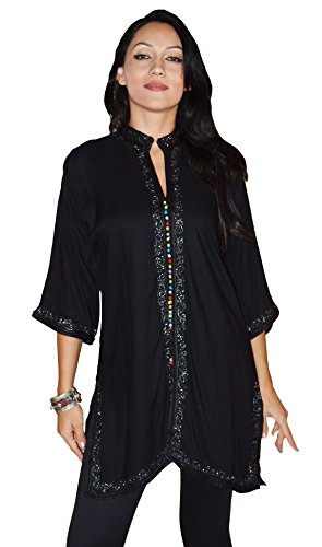 Moroccan-Caftans-Womens-Marrakesh-Tunic-Dress-X-Large-Black