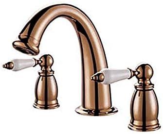 YASE-king 耐久性のある二つのハンドルと蛇口クラシックゴールド流域の蛇口は、調節可能な水温の蛇口を使用し毎日、