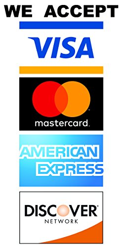 We Accept Credit Card Waterproof Vinyl Stickers with UV Coating - 2 Pack of 4x8 Stickers
