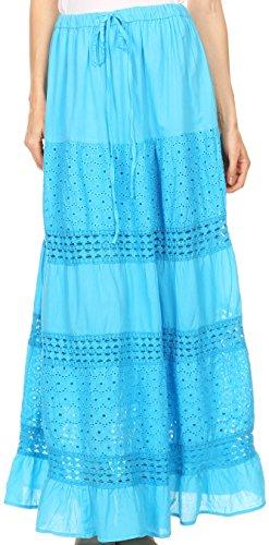 Sakkas 5290 - Genesis Lightweight Cotton Eyelet Skirt with Elastic Waistband,Turq,One Size