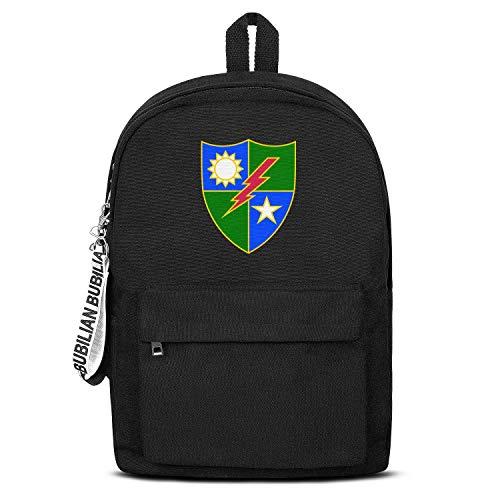(75th Ranger Regiment Distinctive Unit Insignia Boy's Lightweight Black Letter Canvas School Backpack Hip-Pop Bag )