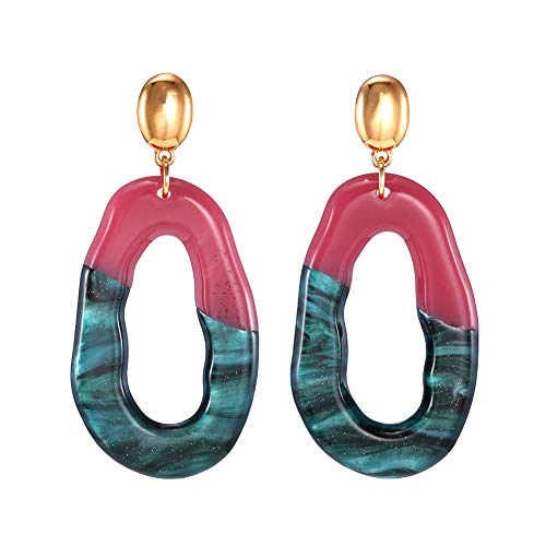 (FAMARINE Multicolor Acrylic Drop Earrings, Lucite Resin Oval Hoop Dangle Gold Stud Post Earrings, Green and Red)
