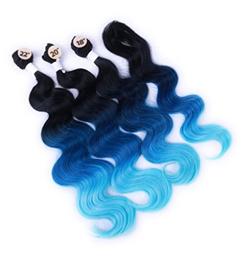 10-22inch-Best-8A-1bbluelight-blue-color-3-Bundles-100-Ombre-hair-Brazilian-Body-Wave-Hair-with-Closure-for-black-women