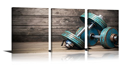 Youk-art Modular Dumbbells Painting Modern Home Decor Poster 3 Pieces HD Printed Fitness Bodybuilding Gym Canvas Wall Art Wooden Art