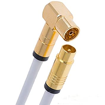 2m - KabelDirekt Antennenkabel 75 Ohm, 90/° gewinkelte Koax Buchse W  gerader Koax Stecker M, Koaxialkabel geeignet f/ür TV, HDTV, Radio, DVB-T2, DVB-C, DVB-S, DVB-S2, Winkelstecker