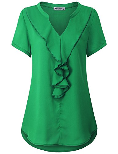 MOQIVGI Summer Tops For Women, Misses Elegant Business Casual Professional Silk Airy Tunics Flared Trapeze Ruffle Notch Neck Short Sleeve Shirts Spring Summer Office Clothes Green XX-Large (Tunic Silk Blouse)