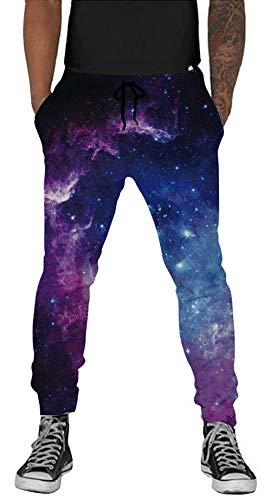 Belovecol Galaxy Sweatpants for Mens Womens 3D Print Graphic Space Active Sports Jogging Pants Gym Trousers M