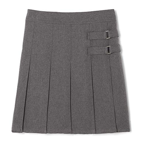 French Toast Big Girls' Two-Tab Pleated Scooter, Grey, 7