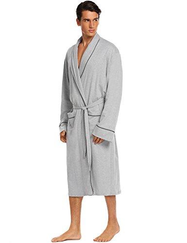 db87fa61e6 Untlet Bathrobe Mens Cotton Spa Robes Lightweight Bath Robe Lounge Sleepwear