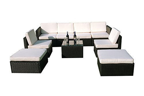 MCombo 6085-S1009 9 Piece Wicker Patio Sectional Indoor Outdoor Sofa Furniture Set, Black
