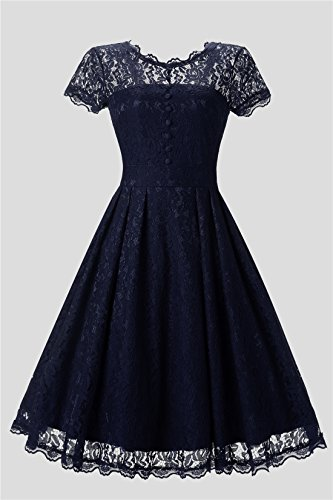 Lanierwedding Women's Floral Lace Prom Dresses Short 2017 Cap Sleeve Retro Vintage Swing Dress Cocktail Dresses, Navy XXL