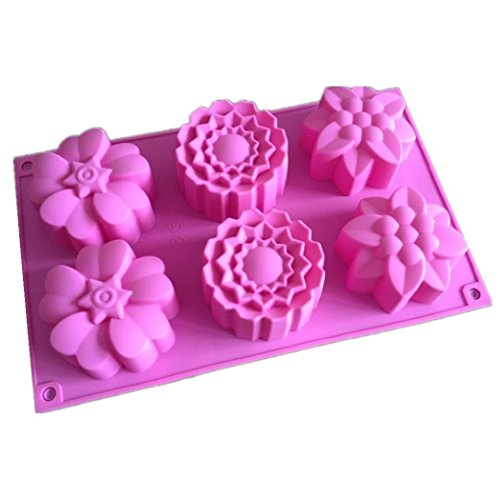 Allforhome (TM) 6 Flowers Silicone Muffin Cups Handmade Soap Molds Cupcake Mold Cake Baking Pans Bakeware Polymer Resin Clay Jelly Soap DIY Molds Soap Making Mould