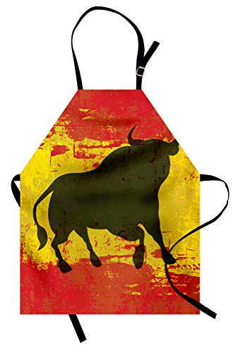 Ambesonne Spanish Apron, Bull Silhouette on Spanish Flag Grunge National Elements Paint Stains, Unisex Kitchen Bib Apron with Adjustable Neck for Cooking Baking Gardening, Vermilion Yellow Umber