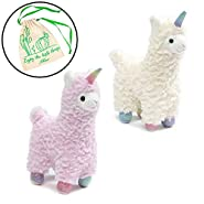 "GUND Chatter Llamacorn 7"" Plushies Set of 2, White and Pastel Pink, with Myriads Drawstring Giftbag"