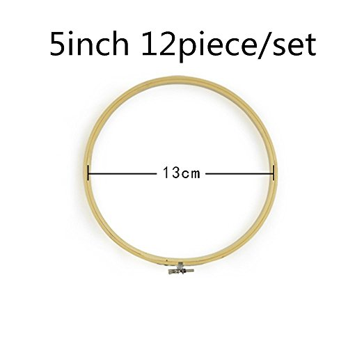 2500 Silk Art Bamboo Circle Tambour Hoop ring 5inch 12 piece/Set for Party Decor Embroidery Cross Stitch CXQ12-13 (Quilting Hoop Square Hand)