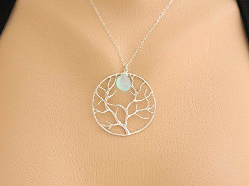 Tree Of Life Necklace for mothers day, Personalized Mother Birthstone Necklace, Holiday Gift, Gemstone Contemporary Jewelry, Mother Jewelry, Sterling silver
