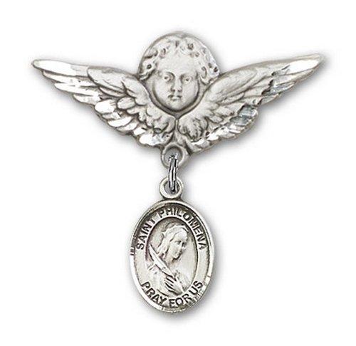 Icecarats Créatrice De Bijoux En Argent Sterling St. Philomena Charme Ange Broche De Badge 1 1/8 X 1 1/8