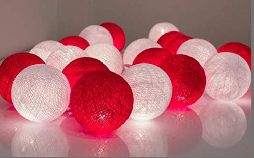 Christmas Party Supplies 2.5m 20 LED Red White Cotton Balls String Lights Battery Operated LED Garland Outdoor Garden Wedding Party Kids Room Decoration Lights by MRMSLI