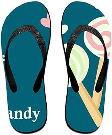 1129f23e441b0 Couple Slipper Candy Lollipop Print Flip Flops Unisex Chic Sandals Rubber  Non-Slip Spa Thong