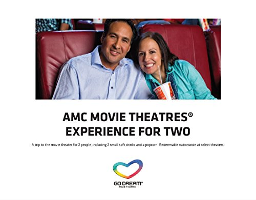 Amc Movie Theatre Tickets For Two Experience Gift Card   Go Dream   Sent In A Gift Package