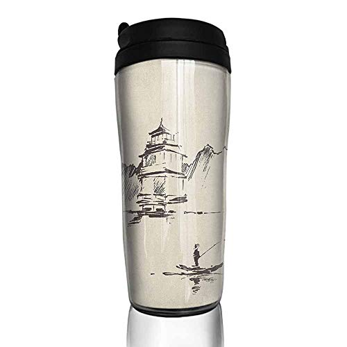 coffee cups warmer Ancient China,Sketch Art of Oriental Landscape with Pagoda Fishing Man and Mountain, Beige Dark Brown 12 oz,warming cup for coffee