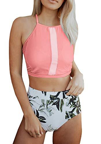 Tutorutor Womens High Waist Halter Bikini Set 2 Piece Criss Cross Leaf Print Bathing Suit