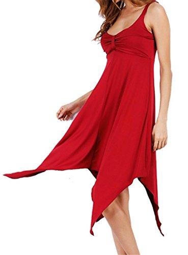 Deep Cromoncent Red Dress Sleeveless Purplish Spaghetti Irregular Party Strap Womens Backless V SSTHUOq