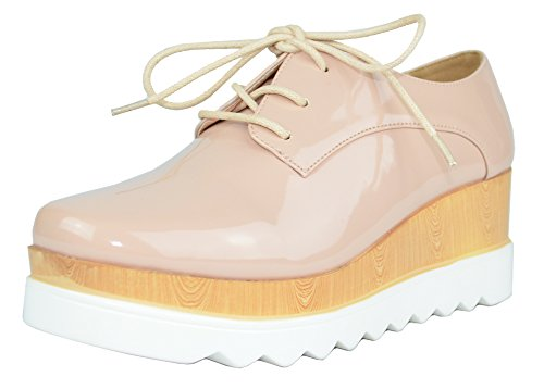 Chase & Chloe Women's Wingtip Lace-Up Wood Platform Wedge Oxford Shoe (10 B(M) US, Nude - Oxford Pastel
