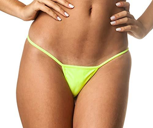 THE MESH KING Coqueta Brazilian Teeny Micro Thong Mini Bikini Swimsuit G String NEON Yellow-Small