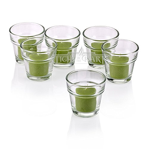 Light In the Dark Clear Glass Flower Pot Votive Candle Holders With Lime Green votive candles Burn 10 Hours Set of 12